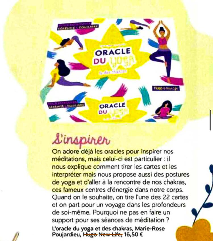 Meditation Magazine - L'Oracle du Yoga et les Chakras de Marie-Poujardieu - Janvier 2021