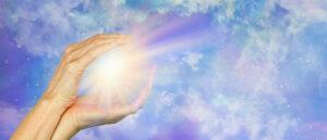 Sending Beautiful Healing Light across distance - female hands